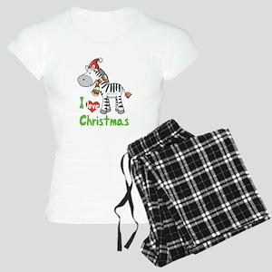I Love Christmas Zebra Women's Light Pajamas