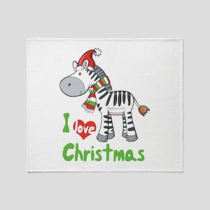 I Love Christmas Zebra Throw Blanket
