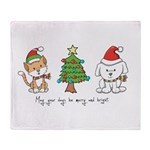 Cat and Dog Christmas Throw Blanket