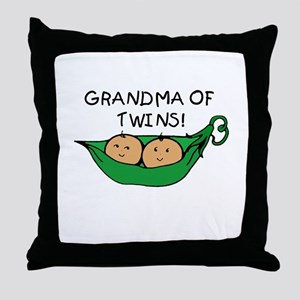 Grandma of Twins Pod Throw Pillow