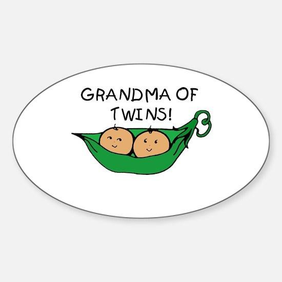 Grandma of Twins Pod Oval Bumper Stickers