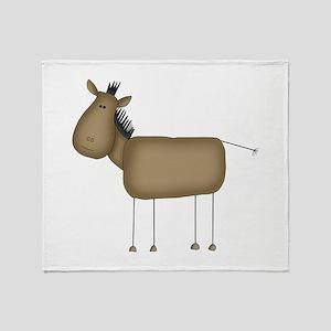 Stick Figure Horse Throw Blanket