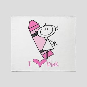 I Love Pink Throw Blanket
