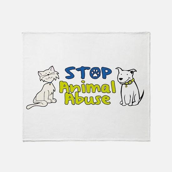 Stop Animal Abuse Throw Blanket