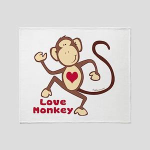 Love Monkey Heart Throw Blanket
