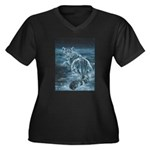 Star Leopard Women's Plus Size V-Neck Dark T-Shirt