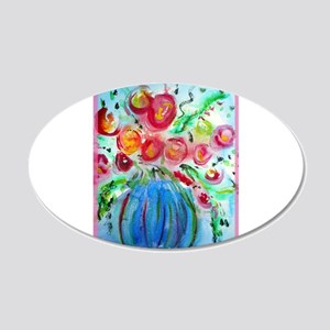 Colorful floral art 20x12 Oval Wall Decal