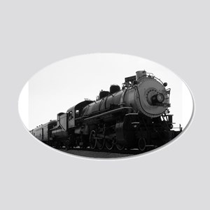 Black and White Steam Engine 22x14 Oval Wall Peel