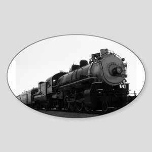 Black and White Steam Engine Sticker (Oval)