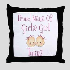 Proud Nana of Twin Girls Throw Pillow