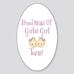 Proud Nana of Twin Girls Oval Sticker