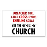 Gym is my Church Sticker (Rectangle)
