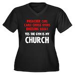 Gym is my Church Women's Plus Size V-Neck Dark T-S