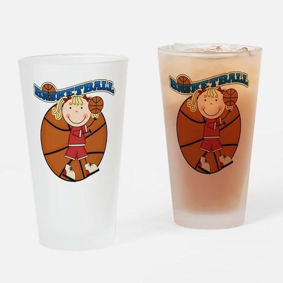 Blond Girl Basketball Pint Glass