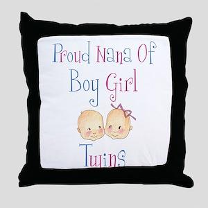 Proud Nana of Boy/Girl Twins Throw Pillow