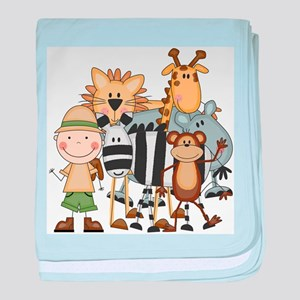 Boy on Safari baby blanket