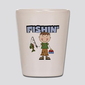 Stick Figure Boy Fishin' Shot Glass