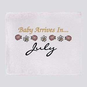 Baby Arrives in July Throw Blanket
