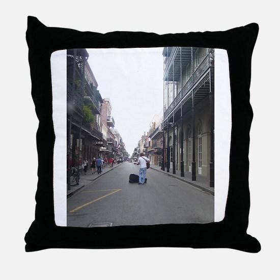 French Quarter Musician Throw Pillow
