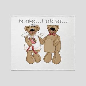 Bride and Groom Bear Throw Blanket