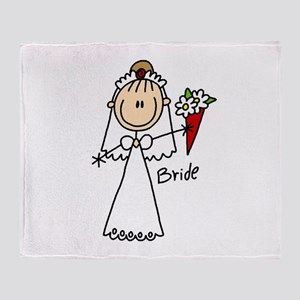 Stick Figure Bride Throw Blanket