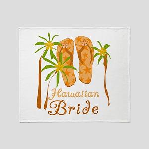 Tropical Hawaiian Bride Throw Blanket