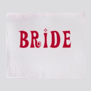 Bride Red Text Throw Blanket