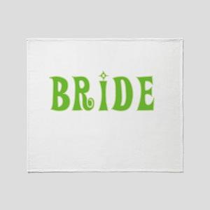 Bride Green Text Throw Blanket