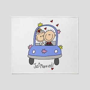 Wedding Car Just Married Throw Blanket