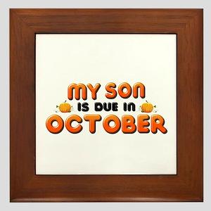My Son is Due in October Framed Tile