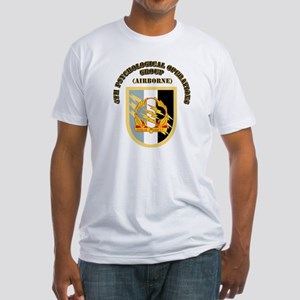 SOF - 4th PsyOps Flash with Text Fitted T-Shirt
