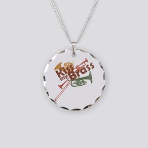 Kiss My Brass Necklace Circle Charm