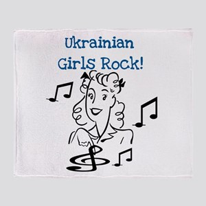 Ukrainian Girls Rock Throw Blanket