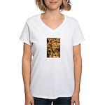 African Spirit in Ochre Women's V-Neck T-Shirt
