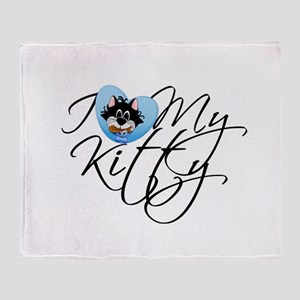 Blue Love My Kitty Throw Blanket