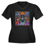Chapala Huichol Women's Plus Size V-Neck Dark T-Sh