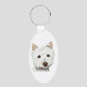 Westie Dog Aluminum Oval Keychain