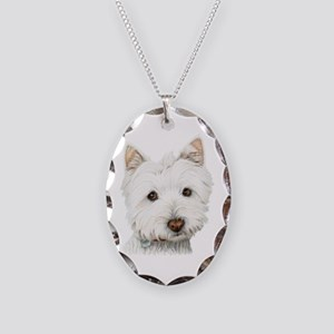 Westie Dog Necklace Oval Charm