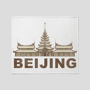 Vintage Beijing Temple Throw Blanket