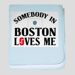 Somebody In Boston baby blanket