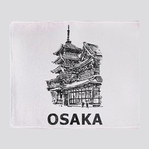 Vintage Osaka Temple Throw Blanket