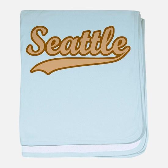 retro Seattle baby blanket