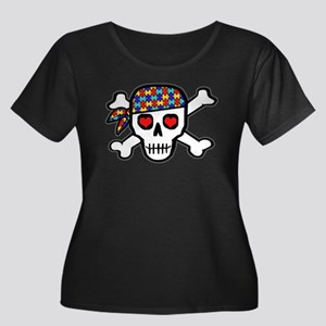 Rockin' Autism Skull Women's Plus Size Scoop Neck