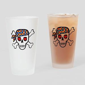 Rockin' Autism Skull Pint Glass