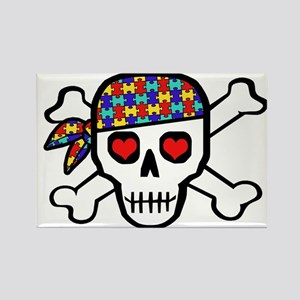 Rockin' Autism Skull Rectangle Magnet