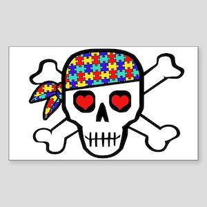 Rockin' Autism Skull Sticker (Rectangle)