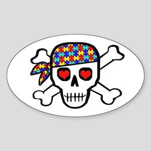 Rockin' Autism Skull Sticker (Oval)