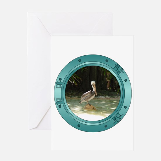 Pelican Porthole Greeting Card