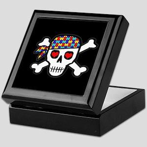 Rockin' Autism Skull (Blk) Keepsake Box