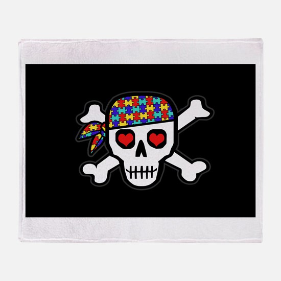 Rockin' Autism Skull (Blk) Throw Blanket